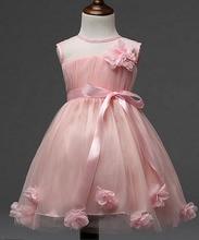2016 новые цветочные девушки платье платье принцессы дети партия носить вуаль цветочница свадебное платье белая роза новорожденных девочек GA-62D018