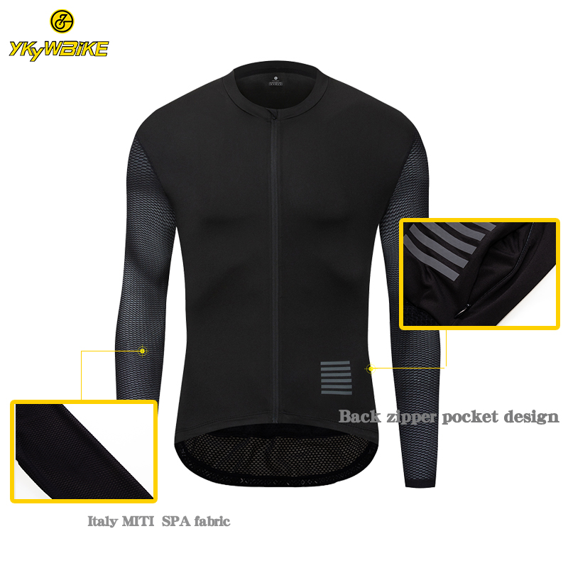 YKYWBIKE 2019 Cycling Jersey Men Long Sleeve New Mesh Fabric Ropa Maillot Ciclismo Hombre Black Color Pro Team Cycling Clothing