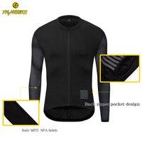 Ykywbike 2020 camisa de ciclismo dos homens manga longa nova malha tecido ropa maillot ciclismo hombre cor preta pro equipe roupas ciclismo|Camisetas p/ ciclismo| |  -