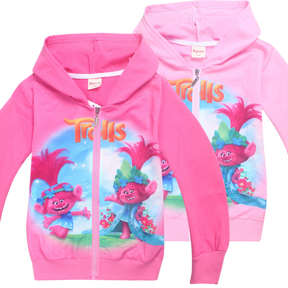 Trolls Baby Girls Cardigan Children Sweater Hoodies Girls Zipper Coat Children Clothes Trolls Costumes Cartoon Kids Hooded