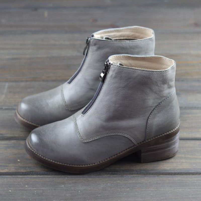 Women s Boots 100 Genuine leather Ladies Ankle Boots Zip Slip on Botines Vintage Chelsea Woman