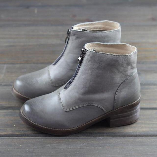 3aa5622695237 Women's Boots 100% Genuine leather Ladies Ankle Boots Zip Slip on Botines  Vintage Chelsea Woman Shoes Female Footwear (K18)