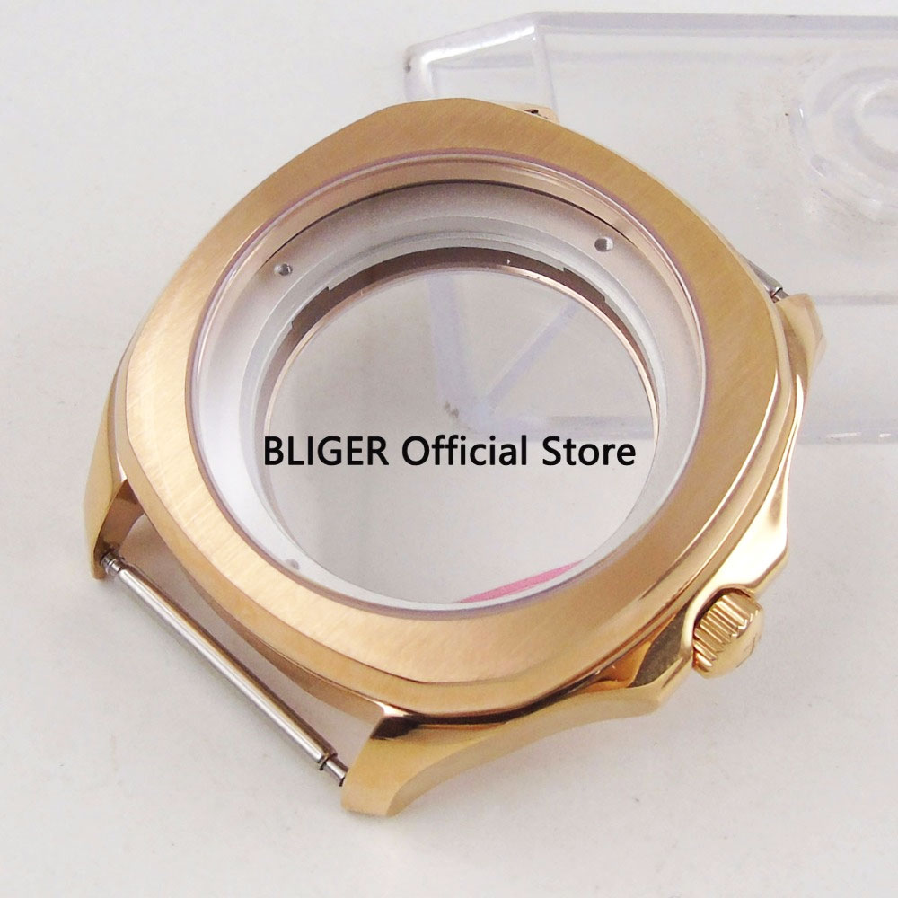 Luxury 40MM Watch Case Sapphire Crystal Rose Gold Coated SS Case Fit For ETA 2836 Automatic