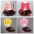 Девушки корейских детей новая зимняя куртка свободного покроя цветы кружева юбка три набора костюмы футболку + пиджак + юбка