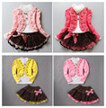Girls suit Korean children new winter jacket casual flowers lace skirt three sets suits t-shirt + jacket + skirt