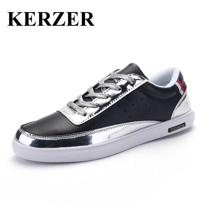 Prix pour KERZER 2017 Hommes Sneakers Planche À Roulettes Chaussures Semelle En Caoutchouc Hommes Planche À Roulettes Chaussures New Black Or Sport Sneaker Skate Board Chaussures