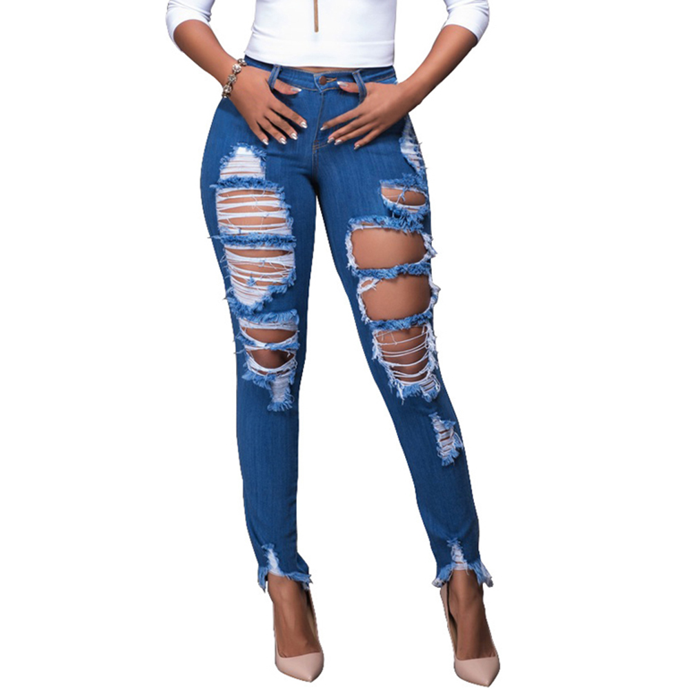 GZHOUSE Hole Ripped Slim Sexy Blue Jeans Woman High Waist Casual Denim Pencil Pants Cool Streetwear Boyfriend Jeans For Women denim overalls male suspenders front pockets men s ripped jeans casual hole blue bib jeans boyfriend jeans jumpsuit or04