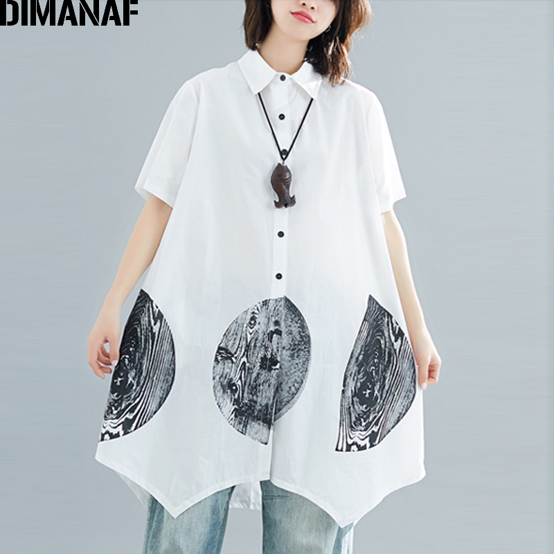 DIMANAF Plus Size Women   Blouse     Shirts   Big Size Office Lady Tops Print Tunic Long   Shirt   Loose Casual Female Clothes 2019 Summer