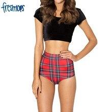 X 082 Women Shorts Summer Tartan RED NANA Suit Bottom Print high waist shorts