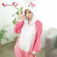 L G Winter Pajamas All In One Flannel Anime Pajama Set Cute Cartoon KT CAT Sleepwear