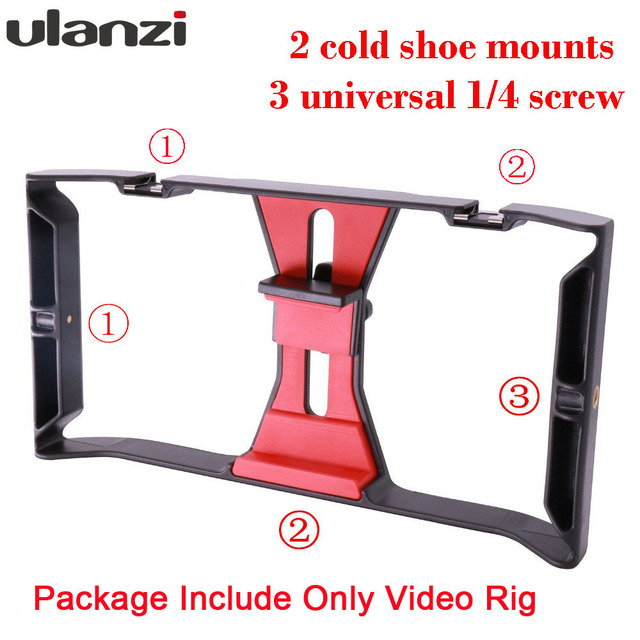 Ulanzi Handheld Smartphone Video Rig With 2 Hot Shoe Mounts Vlogging Rig Stabilizer for iPhone Instagram Video Microphone LED 2
