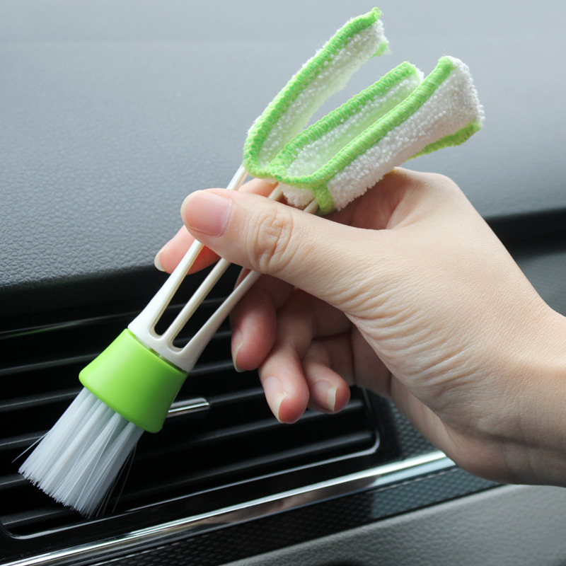 Car Indoor Double-Head Clean Brush Air-condition Outlet Window Care Cleaning