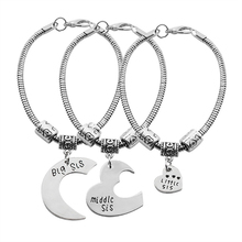 Exquisite Women's Sister Bracelet 3 Piece Set / Big, Medium and Small Sister Heart Shaped Pendant Luo Luo Chain Bracelet Jewelry luo q white s