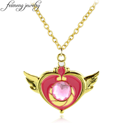 feimeng jewelry Cartoon Anime Sailor Moon Necklace Beauty Pink Crystal Heart Pendant Necklace For Women Fashion Accessories