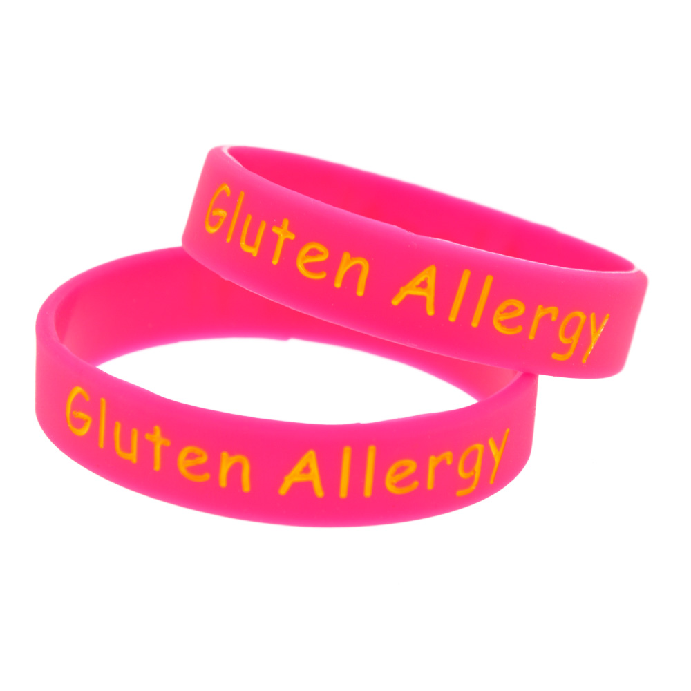 OneBandaHouse 1 PC Medical Alert Bracelet Kid Armbånd Gluten Allergi Rubber Classic Band