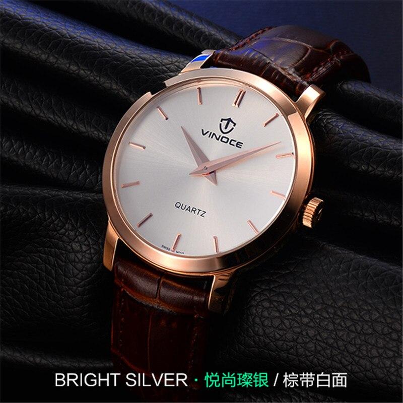 ФОТО 2017 NEWEST VINOCE luxury brand quartz watch Men's high-grade 50m waterproof leather Black gold strap watch relogio masculino