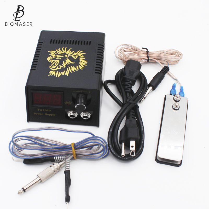 Professional Digital Dual Black Tattoo Power Supply Kit With 1pcs Foot Pedal Switch & 1pcs Clip Cord Free Shipping promotion tattoo machine power supply digital foot pedal switch 8 clip cord tattoo grommets tattoo kit free shipping