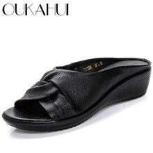 OUKAHUI prawdziwej skóry z wystającym palcem klapki damskie klapki damskie letnie buty Slip On Med Heel kliny slajdy sandały damskie 2020