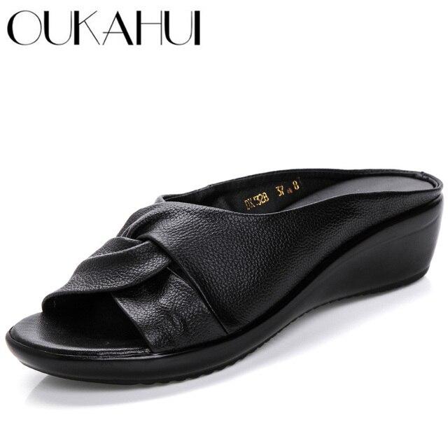 OUKAHUI sandales en cuir véritable à bout ouvert pour femmes, chaussures dété à enfiler à talon Med, à semelles compensées, collection 2020