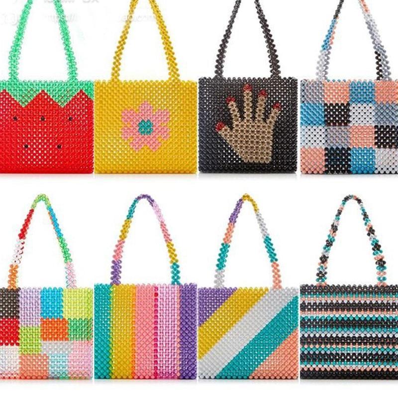 Ins Popular Bead Bag Rainbow Hand woven Pearl Celebrity Handbag Europe United States Unique Design Colourful
