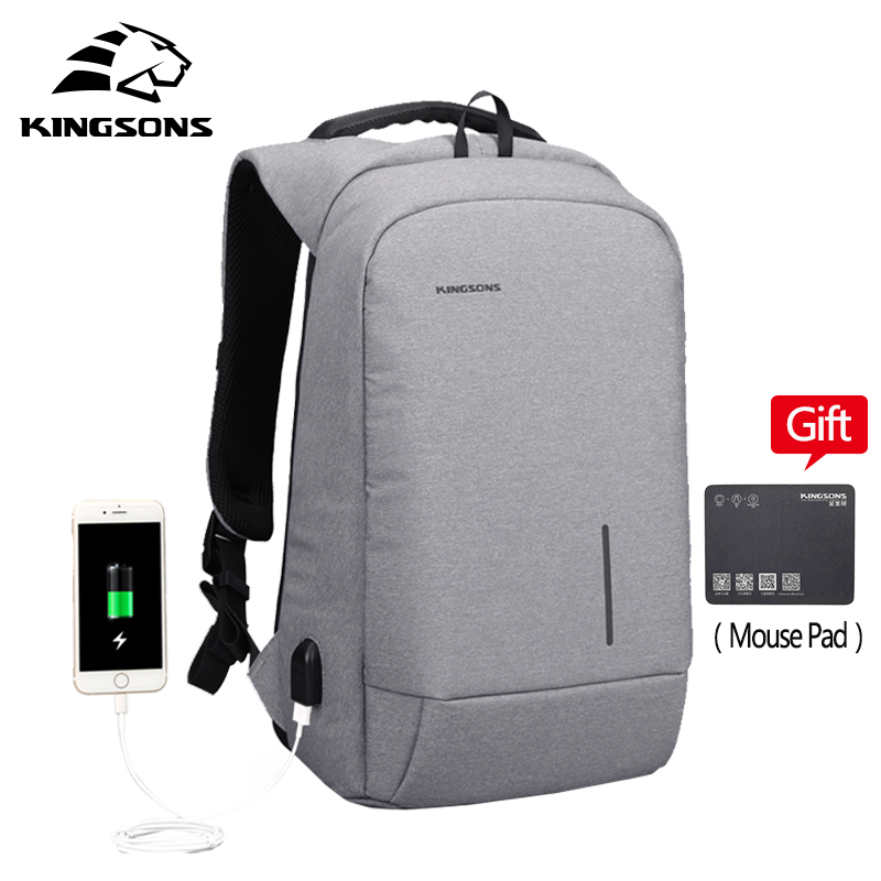 Kingsons 13''15''External USB Charging Backapcks School Backpack Bag Laptop Computer Bags Men's Women's Travel Bags kingsons external charging usb function school backpack anti theft boy s girl s dayback women travel bag 15 6 inch 2017 new