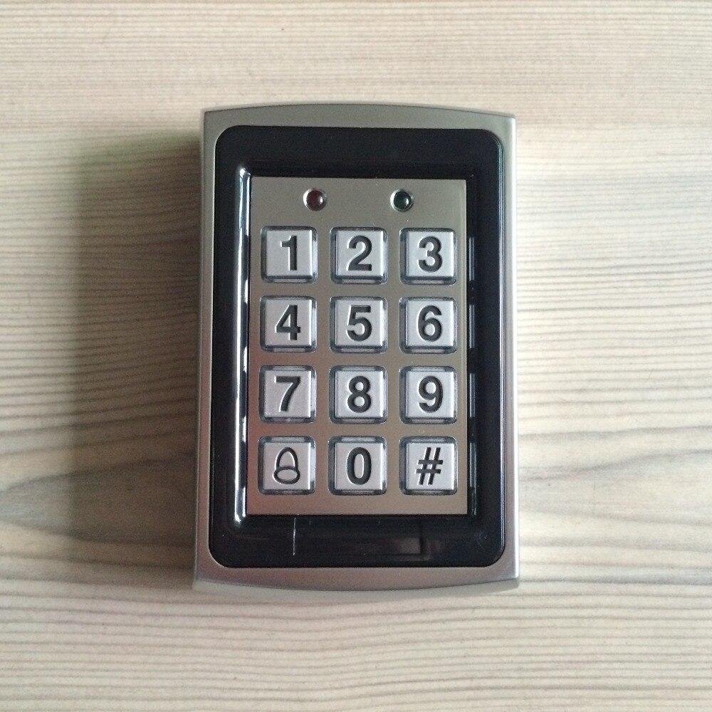 ФОТО 125khz rfid reader metal 7612 access control password keypad free 5 ID card include led light doorbell alarm fuction