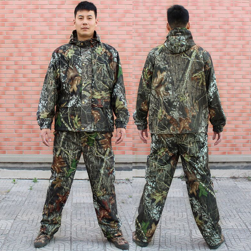 Outdoor Men Bionic 3D Leaves Hunting Suit Jacket Pants Camouflage Ghillie Suit Windproof Breathable Tactical Camo