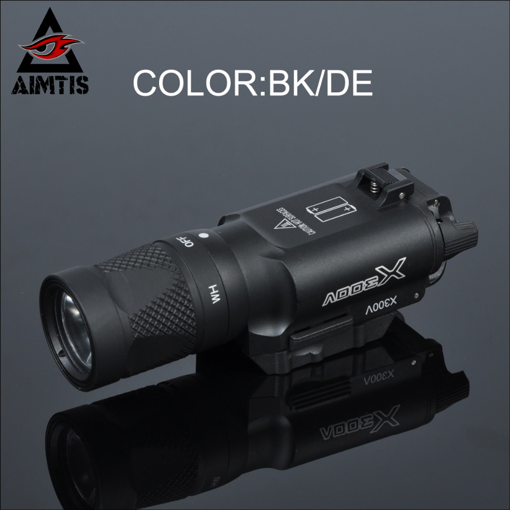 AIMTIS X300 X300V Flashlight Tactical Strobe Light Tac Handgun Scout Flashtorch Pistol Weapon Light Rail Mount AR Rifle