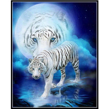 White Tiger diamond Embroidery diy painting mosaic diamand 3d cross stitch pictures H846