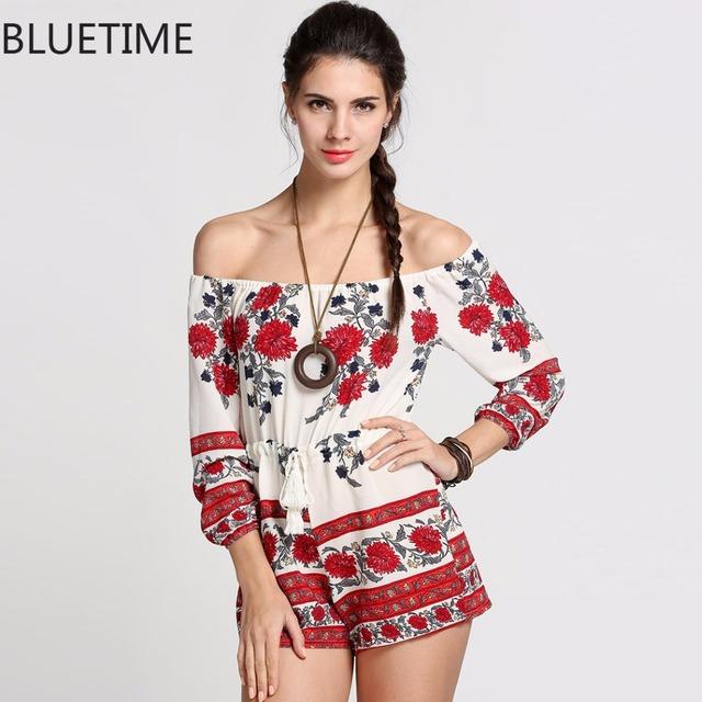 Off Shoulder 3/4 Sleeve Floral Shorts Romper