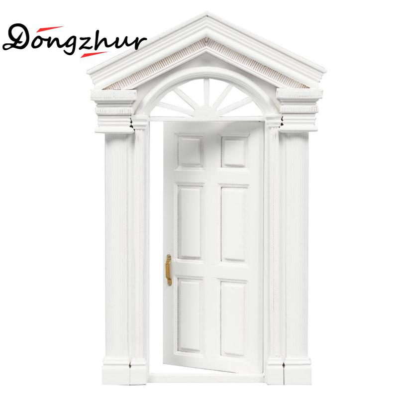 Dongzhur Miniaturas 1:12 Dollhouse Mini Furniture Accessories DIY Doll House Wooden Window Door White Paint Toy House Furniture