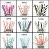 New Hot 25pcs(5styles)Paper Straws For Kids Birthday Wedding Decoration Event Party Supplies Creative Mixed Colors Free Shipping