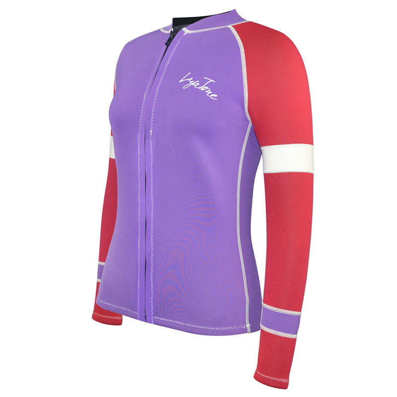 Layaton Wetsuit üst kadınlar 3mm neopren dalış ceket sörf dalış takım elbise tek parça mayo uzun kollu döküntü bekçi kadın