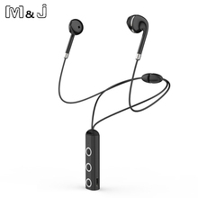 цена на M&J Magnetic Bluetooth Earphone Wireless Headphone Stereo Sport Earpiece With Microphone Earbuds For All Phone