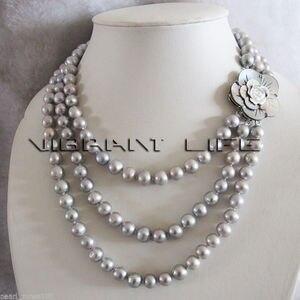 Лидер продаж, серое ожерелье с пресноводным жемчугом, 17-20 дюймов, 7-8 мм, 3 ряда, модные свадебные украшения для вечеринок