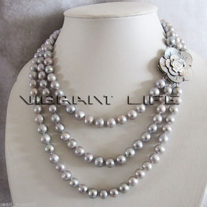 Nuevo estilo, gran oferta, collar de perlas grises de agua dulce de 17-20