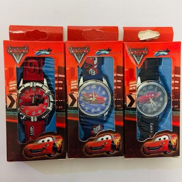 Children's Cartoon Watch Spiderman Car Mickey Minnie Child Watch Leather Strap Q
