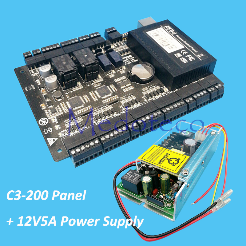 Tcp/ip C3-200 two doors access control panel zk door access control system access control board +12V5A Power Supply Unit sdk two doors two ways input output ports 30000 user tcp ip network zk c3 200 door access control board
