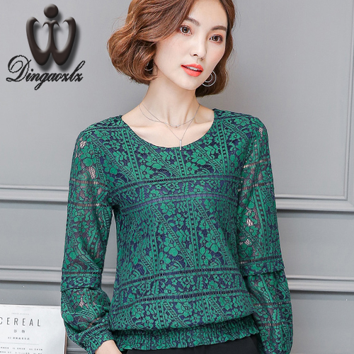 Dingaozlz 2017 autumn new long-sleeved Slim lace shirt large size lace women blouse fashion elegant mesh stitching lace tops