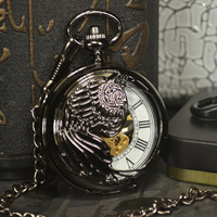 TIEDAN Skeleton Steampunk Black Retro Necklace Chain Mechanical Pocket Watch Fashion Black Antique Pocket Fob Watch