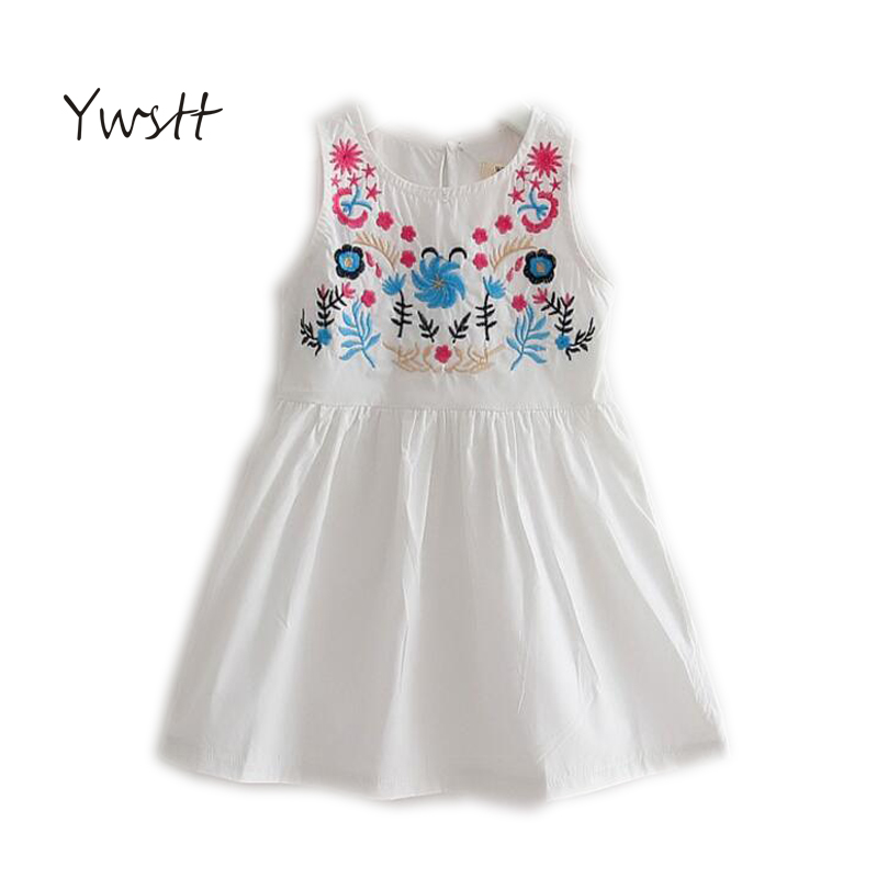 f8329403b طفلة ملابس الأطفال الربيع الصيف فستان بنات المتأنق التطريز سترة الفتيات  فستان الأميرة اللباس الاطفال القطن دمية