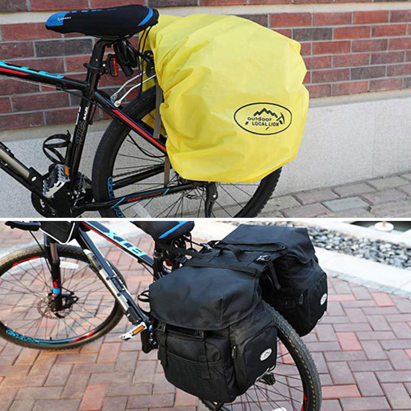 Bicycle Bag Mountain Road Saddle Cycling Bags MTB Rear Double Side Rack Tail Seat Pannier Pack Bike Accessories Rain Cover XA37D