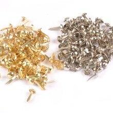 100 шт микс круглых Brads серебряные/Золотые украшения для скрапбукинга металлические поделки застежка Брэд для украшения своими руками c2252