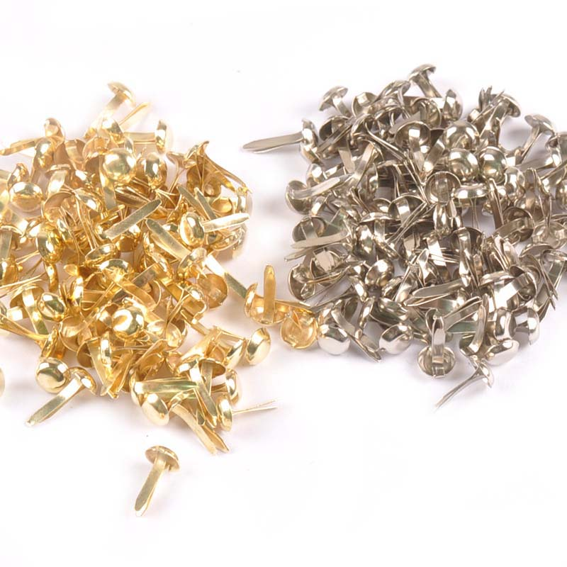 100Pcs Mix Round Brads Silver/golden Embellishments For Scrapbooking Metal Crafts Fastener Brad For Diy Decorations C2252