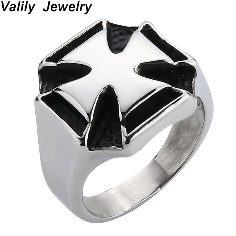 Valily Men Vintage Enamel Iron Cross Ring Stainless steel World War II Fingers Ring Brand Party Fashion Rings Jewelry for Man