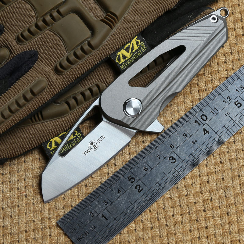 TWO SUN TS08 D2 blade Tactical Flipper ball brearing folding knife titanium camping hunt Pocket knives outdoor Survival EDC Tool jufule doc folding d2 blade titanium g10 bearing flipper tactical kitchen knife outdoor survival camping pocket hunt edc tool