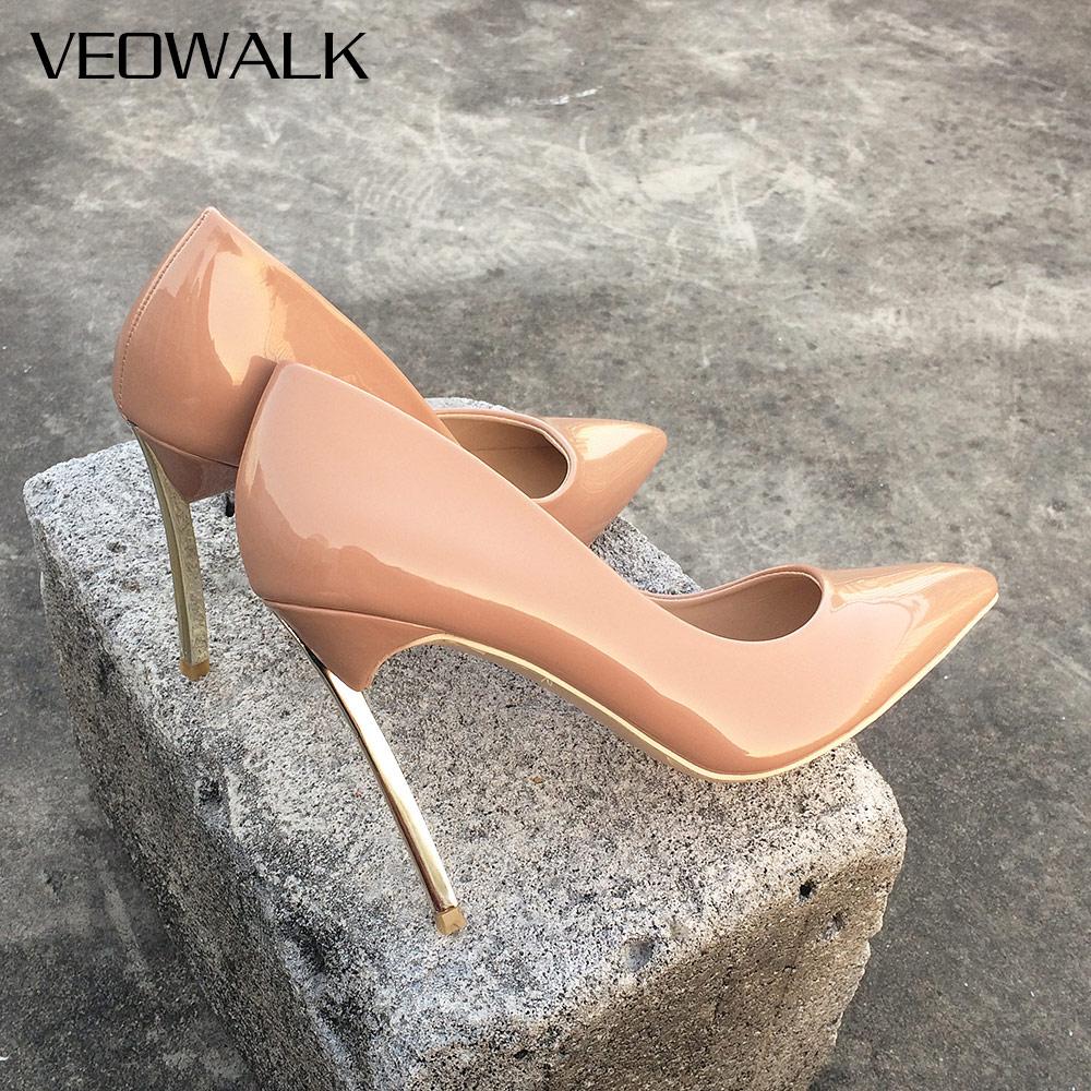 Veowalk Women Shoes High Heels Women Pumps Stiletto 10CM Heels Sexy Woman High Heels Patent Leather Pointed Toe Wedding Shoes