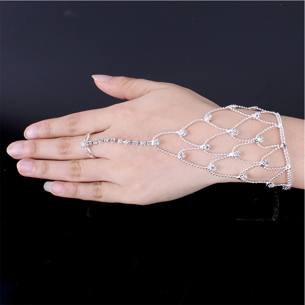 MQUPIN Charming Crystal Bangles Sexy Women Girl Rhinestone Bracelet Wrist link to Finger Femme Jewelry Fashion Accessory