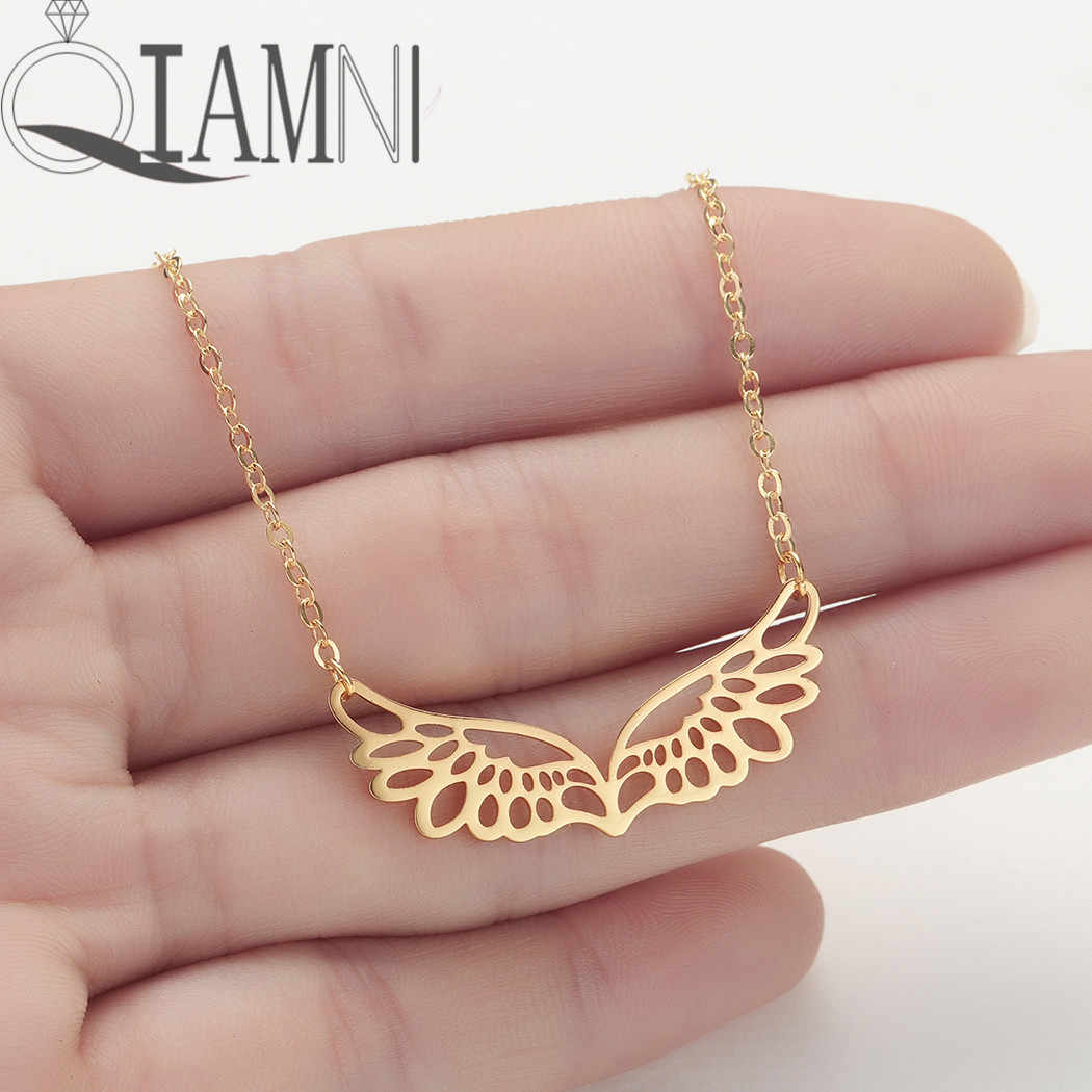 QIAMNI Unique Animal Guardian Angel Wings Pendant Necklace Party Birthday Jewelry Eagle Bird Double Wings Necklace Lovers Gift