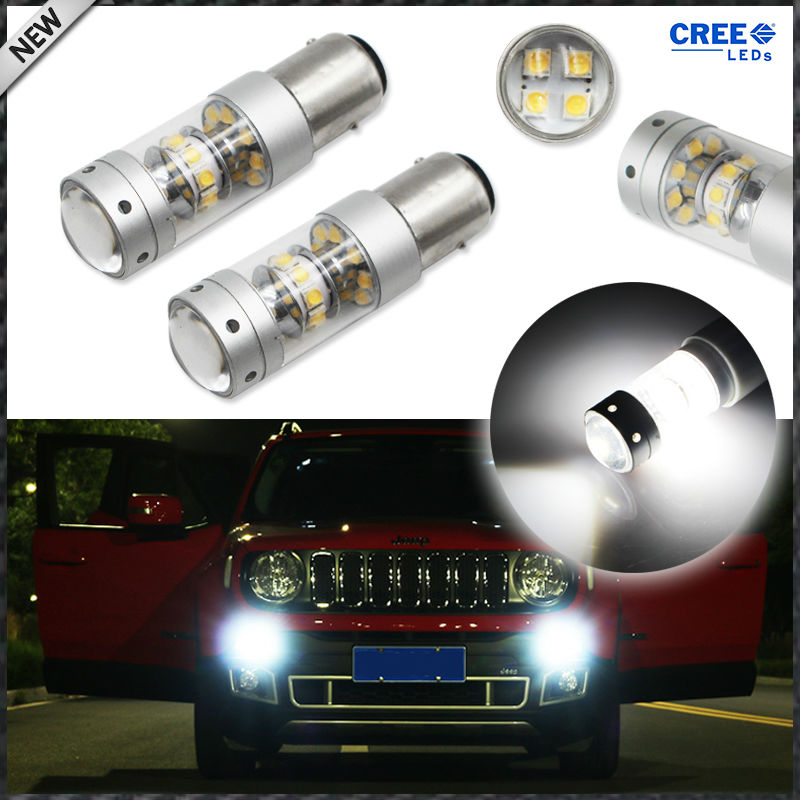 iJDM 6000K Xenon White CAN-bus LED Daytime Running Light DRL Bulbs For 2015-up Jeep Renegade ijdm hid white 15 smd 3535 powered 3157 t25 led bulbs for daytime running lights drl for 2011 and up jeep grand cherokee 6000k
